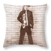 Vintage Male Skateboarder Throw Pillow