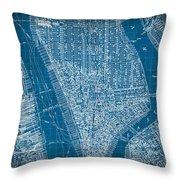 Vintage Manhattan Street Map Blueprint Throw Pillow