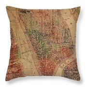 Vintage Manhattan Street Map Watercolor On Worn Canvas Throw Pillow