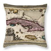 Vintage Map Of Cuba Throw Pillow