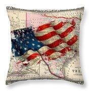 Vintage Map Of Texas 2 Throw Pillow