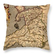 Vintage Map Of Wales 1633 Throw Pillow