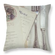 Vintage Menu Cards Knife And Fork Throw Pillow