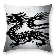 Vintage Metal Dragon Throw Pillow