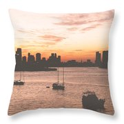 Vintage Miami Skyline Throw Pillow