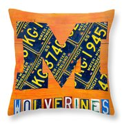 Vintage Michigan License Plate Art Throw Pillow