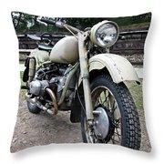 Vintage Military Motorcycle Throw Pillow