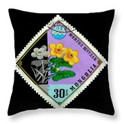 Medicinal Plants - Vintage Mongolia Stamp Throw Pillow