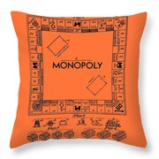 Vintage Monopoly Game Patent Throw Pillow