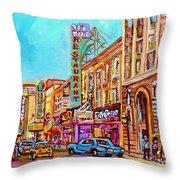 Vintage Montreal Street Saint Catherine Street Downtown Summer City Scene Carole Spandau Throw Pillow
