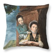 Vintage Mother And Son Throw Pillow