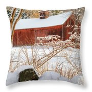 Vintage New England Barn Portrait Square Throw Pillow by Bill Wakeley