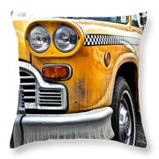 Vintage Nyc Taxi Throw Pillow by John Farnan