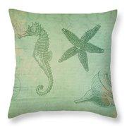 Vintage Ocean Animals Throw Pillow