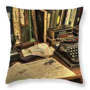 Vintage Office Desk Throw Pillow