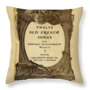 Vintage Old French Songs  Throw Pillow
