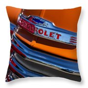 Vintage Orange Chevrolet Throw Pillow by Carol Leigh