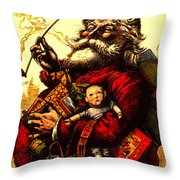 Vintage Original Coca Cola Red Santa Claus Poster Throw Pillow
