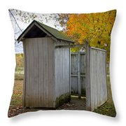 Vintage Outhouse Alongside A Historical Country School In Southwest Michigan Throw Pillow