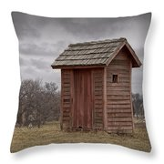 Vintage Outhouse Behind A Historical Country School In Southwest Michigan Throw Pillow