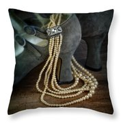 Vintage Pearls And Shoes Throw Pillow