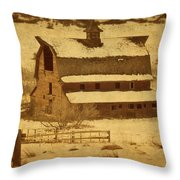 Vintage Perry Park Barn Throw Pillow