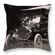 Vintage Photo Of Rural Mail Carrier - 1914 Throw Pillow