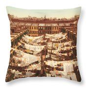 Vintage Photo Of Washing Day In New York City 1900 Throw Pillow