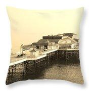 Vintage Pier At Dawn Throw Pillow