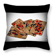 Vintage Playing Cards Art Prints Throw Pillow
