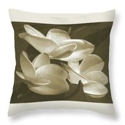 Vintage Plumeria Trio Throw Pillow