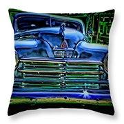 Vintage Plymouth Navy Metalic Art Throw Pillow