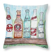 Vintage Pop Bottles Throw Pillow