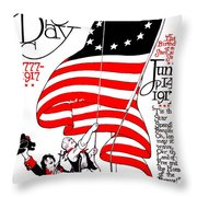 Vintage Poster - America - Flag Day 1917 Throw Pillow by Benjamin Yeager