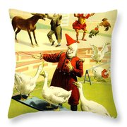 Vintage Poster - Circus - Barnum Bailey Geese Throw Pillow