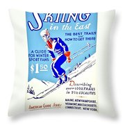 Vintage Poster - Sports - Skiing Throw Pillow