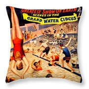 Vintage Poster - Circus - Barnum Bailey Water Throw Pillow