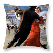 Vintage Poster Couples Skating At Christmas On Frozen Pond Throw Pillow