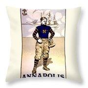 Vintage Poster - Naval Academy Midshipman Throw Pillow