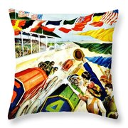 Vintage Poster - Sports - Indy 500 Throw Pillow