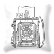 Vintage Press Camera Patent Drawing Throw Pillow