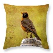 Vintage Proud Robin Throw Pillow