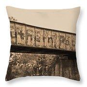 Vintage Railway Bridge In Sepia Throw Pillow