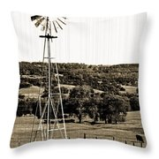Vintage Ranch Windmill Throw Pillow