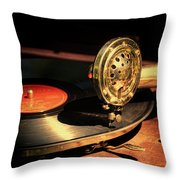 Vintage Record Player Throw Pillow