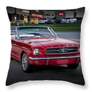 Vintage Red 1966 Ford Mustang V8 Convertible  E48 Throw Pillow