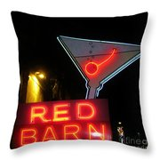 Vintage Red Barn Neon Sign Las Vegas Throw Pillow