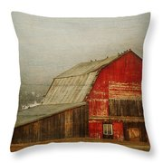 Vintage Red Barn Throw Pillow