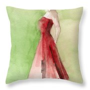 Vintage Red Cocktail Dress Fashion Illustration Art Print Throw Pillow by Beverly Brown