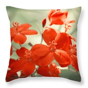 Vintage Red Flowers Throw Pillow